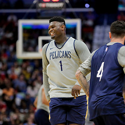 Oct 5, 2019; New Orleans, LA, USA; New Orleans Pelicans forward Zion Williamson (1) and guard JJ Redick (4) during a open practice at the Smoothie King Center. Mandatory Credit: Derick E. Hingle-USA TODAY Sports