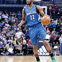 15 February 2017: Minnesota Timberwolves forward Andrew Wiggins (22) dribbles during the Minnesota Timberwolves 112-99 victory over the Denver Nuggets, at the Pepsi Center, Denver, Colorado, USA.