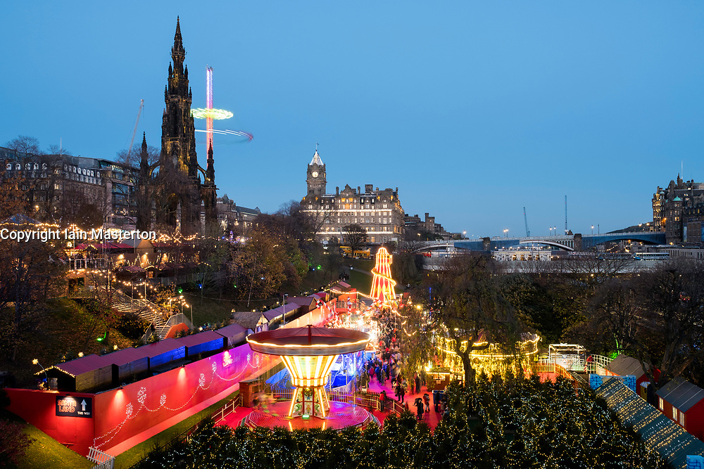 Opening day of Edinburgh's popular and beautiful Christmas market and funfair in Princes Street Gardens.