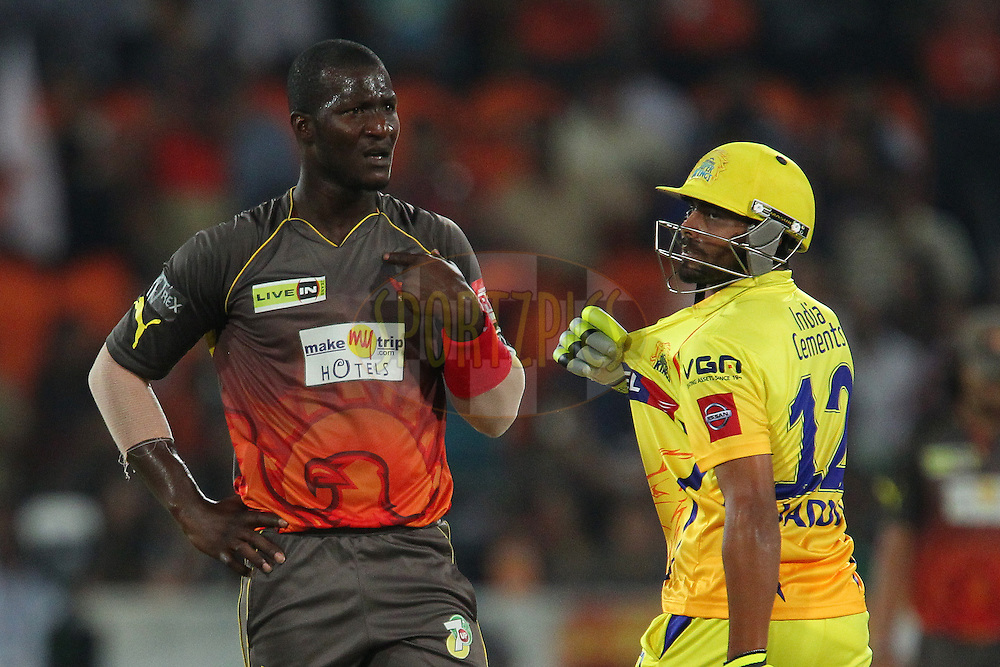 Darren Sammy questions the umpire's decision during match 54 of the Pepsi Indian Premier League between The Sunrisers Hyderabad and Chennai Superkings held at the Rajiv Gandhi International  Stadium, Hyderabad  on the 8th May 2013..Photo by Ron Gaunt-IPL-SPORTZPICS ..Use of this image is subject to the terms and conditions as outlined by the BCCI. These terms can be found by following this link:..http://www.sportzpics.co.za/image/I0000SoRagM2cIEc