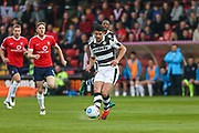 Forest Green Rovers Omar Bugiel(11) plays the ball forward during the Vanarama National League match between York City and Forest Green Rovers at Bootham Crescent, York, England on 29 April 2017. Photo by Shane Healey.