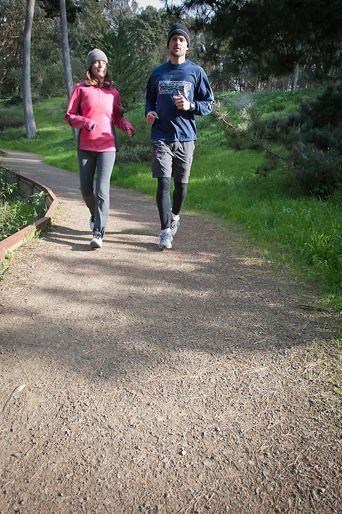 Walking on the Park Trail in the Presidio, through the Cypress Trees.