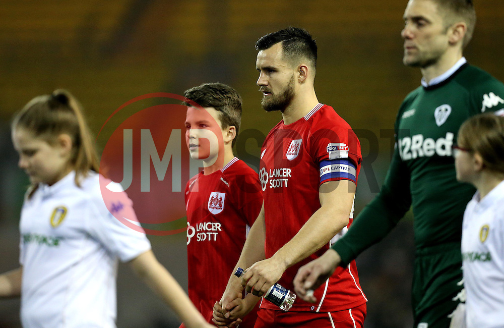 Bailey Wright of Bristol City walks out with the mascot - Mandatory by-line: Robbie Stephenson/JMP - 14/02/2017 - FOOTBALL - Elland Road - Leeds, England - Leeds United v Bristol City - Sky Bet Championship