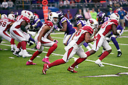 Arizona Cardinals wide receiver Christian Kirk (13) and Arizona Cardinals wide receiver Larry Fitzgerald (11) go out for a pass during the NFL week 6 regular season football game against the Minnesota Vikings on Sunday, Oct. 14, 2018 in Minneapolis. The Vikings won the game 27-17. (©Paul Anthony Spinelli)