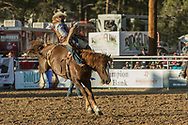 Bareback bronc rider Cody Kiser rides Summit Pro Rodeo's Reservation Gold in the second performance of the Elizabeth Stampede on Saturday, June 2, 2018.
