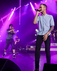 "© Licensed to London News Pictures. 01/03/2014. London, UK.   Rizzle Kicks performing live at Hammersmith Apollo. In this picture - Jordan Stephens (left), Harley Alexander-Sule (right).   Rizzle Kicks are an English hip hop duo from Brighton, consisting of Jordan ""Rizzle"" Stephens and Harley ""Sylvester"" Alexander-Sule.   Photo credit : Richard Isaac/LNP"