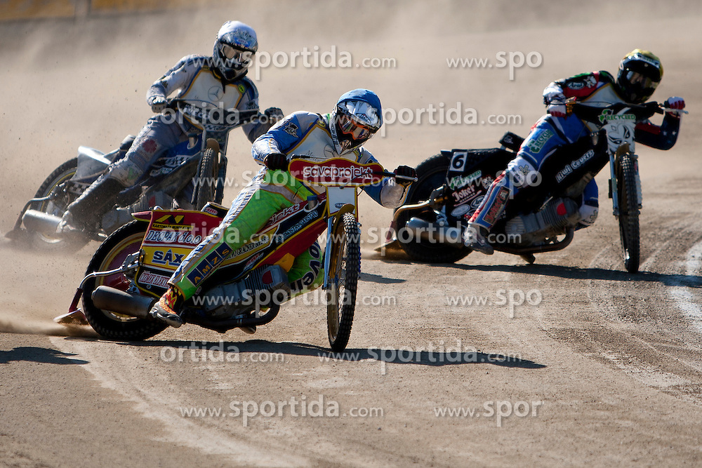 Matic Ivacic  of team Slovenia and Ryan Fischer of team USA during FIM Speedway World Cup Qualifying round 2 for team's Slovenia, Italy, USA and Ukraine, on May 5, 2012, in Sportni park Ilirije, Ljubljana, Slovenia. (Photo by Urban Urbanc / Sportida)