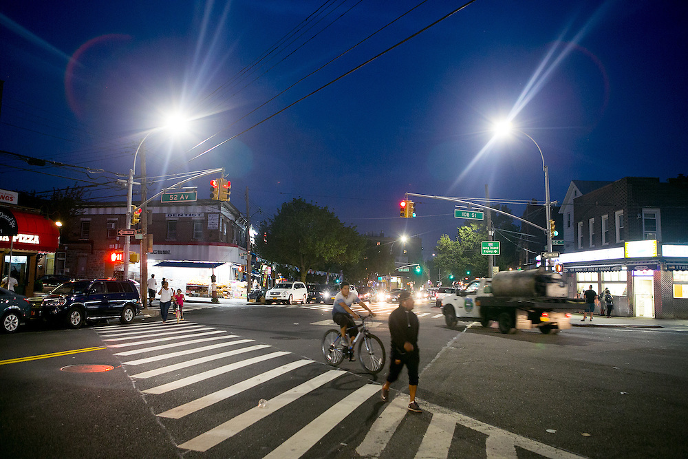 NEW YORK, NY - JULY 7, 2016: A view of the new LED streetlights in Queens, New York. CREDIT: Sam Hodgson for The New York Times.