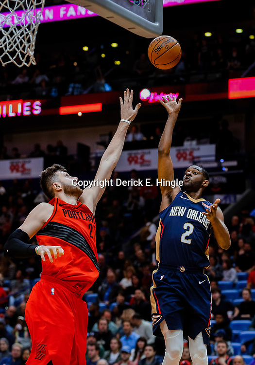 Jan 12, 2018; New Orleans, LA, USA; New Orleans Pelicans guard Ian Clark (2) shoots over Portland Trail Blazers center Jusuf Nurkic (27) during the second quarter at the Smoothie King Center. Mandatory Credit: Derick E. Hingle-USA TODAY Sports