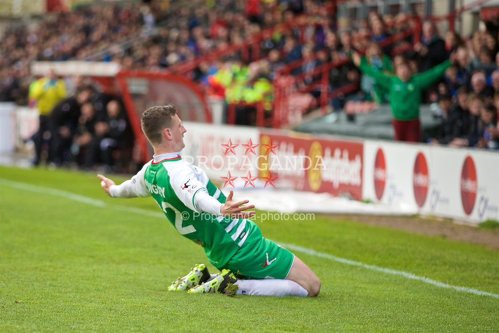 WREXHAM, WALES - Monday, May 2, 2016: The New Saints' Scott Quigley celebrates scoring the second goal against Airbus UK Broughton during the 129th Welsh Cup Final at the Racecourse Ground. (Pic by David Rawcliffe/Propaganda)