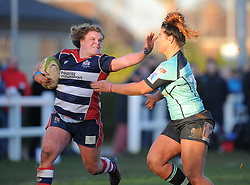 Sarah Bern of Bristol Ladies fends off Shona Powell-Hughes of Worcester Valkyries - Mandatory by-line: Paul Knight/JMP - 04/12/2016 - RUGBY - Cleve RFC - Bristol, England - Bristol Ladies v Worcester Valkyries - RFU Women's Premiership