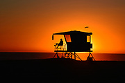 Lifeguard on Duty at Sunset Huntington Beach California