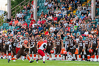KELOWNA, BC - AUGUST 17:  Brycen Mayoh #4 misses a catch as Nathan Falito #1 of Westshore Rebels looks to recover the ball as Nate Adams #41 of Okanagan Sun runs in for the interception in front of the Okanagan Sun team bench at the Apple Bowl on August 17, 2019 in Kelowna, Canada. (Photo by Marissa Baecker/Shoot the Breeze)