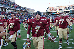 November 20, 2010; Chestnut Hill, MA, USA;  Boston College Eagles quarterback Chase Rettig (7) leaves the field after the game against the Virginia Cavaliers at Alumni Stadium.  Boston College defeated Virginia 17-13.