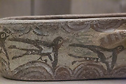 Swallows on a bowl, art from the archaeological site of Akrotiri, that was covered by volcanic ash in 1627 BC, Santorini, Greece.