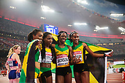 BEIJING 2015-08-30<br /> VM FRIIDROTT BEIJING NATIONAL STADIUM<br /> Christine Day, Shericka Jackson, Stephanie-Ann McPherson och Novlene Williams-Mills