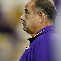 November 12, 2011; Baton Rouge, LA, USA; LSU Tigers defensive coordinator John Chavis prior to kickoff of of a game against the Western Kentucky Hilltoppers at Tiger Stadium. LSU defeated Western Kentucky 42-9. Mandatory Credit: Derick E. Hingle-US PRESSWIRE