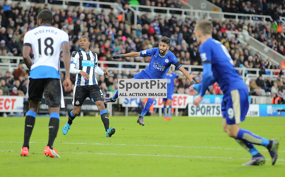 Newcastle United v Leicester City English Premiership 21 November 2015; Riyad Mahrez (Leicester City, 26) shots just wide during the Newcastle v Leicester City English Premiership match played at St. James' Park, Newcastle; <br /> <br /> &copy; Chris McCluskie | SportPix.org.uk