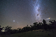 A bright bolide meteor and &ldquo;smoke&rdquo; trail south of the southern Milky Way as Crux and the Pointers rise in the east on a clear Australian night. Jupiter is the bright object at left. <br /> <br /> This is a stack of 8 x 45-second untracked exposures for the ground, mean combined to smooth noise, and one 45-second exposure for the stars and main bolide trail. The yellow ion train was added in with another exposure taken a couple of minutes later as the train began to blow away from the meteor path. That layer is masked to reveal just the train. All frames taken as part of a 500-frame time-lapse sequence of the Milky Way rising.