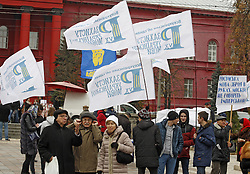 November 9, 2016 - Kiev, Ukraine - Ukrainians attend a rally against the Russification of Ukraine in Kiev, Ukraine, 9 November, 2016. The rally organized by All-Ukrainian Union ''Movement to protect the Ukrainian language'' timed to the Day of Ukrainian writing and language. (Credit Image: © Str/NurPhoto via ZUMA Press)
