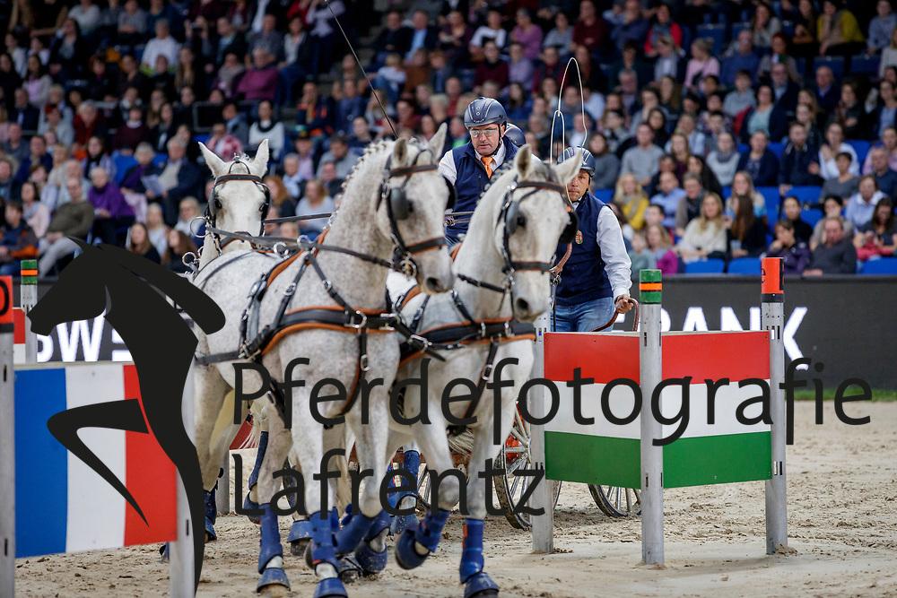 DOBROVITZ Jozsef (HUN), Favory, Harcos, Neapolitano Nimrod, Siglavy Capriola Beni<br /> Stuttgart - German Masters 2019<br /> Preis der Firma iWEST<br /> Einlaufprüfung für den FEI WORLD CUP™ DRIVING 2019/2020<br /> Int. Zeit-Hindernisfahren für Vierspänner mit zwei unterschiedlichen Umläufen CAI-W<br /> 15. November 2019<br /> © www.sportfotos-lafrentz.de/Stefan Lafrentz