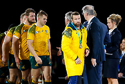 Dejected Australia Inside Centre Matt Giteau collects his runners up medal  after New Zealand win the match 34-17 to become 2015 World Cup Champions - Mandatory byline: Rogan Thomson/JMP - 07966 386802 - 31/10/2015 - RUGBY UNION - Twickenham Stadium - London, England - New Zealand v Australia - Rugby World Cup 2015 FINAL.
