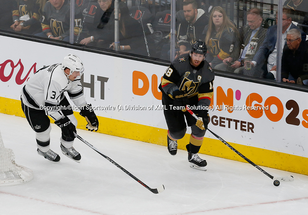 LAS VEGAS, NV - APRIL 11: Vegas Golden Knights left wing James Neal (18) controls the puck during Game One of the Western Conference First Round of the 2018 NHL Stanley Cup Playoffs between the L.A. Kings and the Vegas Golden Knights Wednesday, April 11, 2018, at T-Mobile Arena in Las Vegas, Nevada. (Photo by: Marc Sanchez/Icon Sportswire)