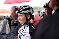 Emilie Moberg (Hitec Products) makes her way through the crowds to sign in at the 119 km Stage 6 of the Boels Ladies Tour 2016 on 4th September 2016 from Bunde to Valkenburg, Netherlands. (Photo by Sean Robinson/Velofocus).