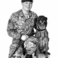 Ashleigh Clausen, Army - Royal Army Veterinary Private, Dog Handler, Zaddi is an High Assurance Search Dog,  Veterans Portrait Project UK Sennelager Germany