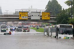 Bus and car stuck in the water after heavy rain on September 17, 2010, in Ljubljana, Slovenia. (Photo by Matic Klansek Velej / Sportida)
