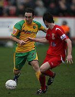 Photo: Rich Eaton.<br /> <br /> Tamworth FC v Norwich City. The FA Cup. 06/01/2007. Lee Croft left of Norwich attacks the Tamworth defence