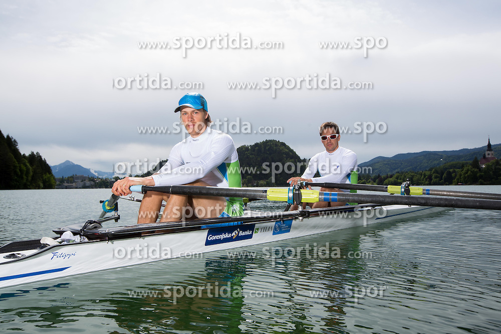Jure Cvet and Matevz Malesic during training session of Slovenian National Rowing team for European Rowing Championships 2013 in Seville, Spain, on May 22, 2013 in Bled Lake, Slovenia. (Photo By Vid Ponikvar / Sportida)