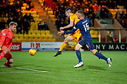 Ryan Hardie (#9) of Livingston FC scores his first goal during the Ladbrokes Scottish Premiership match between Livingston FC and Heart of Midlothian FC at the Tony Macaroni Arena, Livingston, Scotland on 14 December 2018.