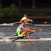 Twins Rebecca and Elizabeth Donald (nearest camera) in action during the Women's singles heats during the US Rowing National Championships at Mercer Lake, Caspersen Rowing Center, West Windsor, New Jersey. USA. 27th June 2013