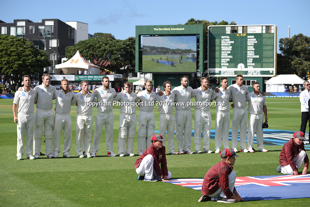 Players line up for the national anthems. New Zealand Black Caps v Australia. Day 1, 1st test match, Basin Reserve, Wellington, New Zealand. Friday 12 February 2016. Copyright photo: Andrew Cornaga / www.photosport.nz