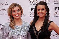 TG4 Television presenters Caitlín Nic Aoidh and Mairéad Ní Chuaig at the IFTA Film & Drama Awards (The Irish Film & Television Academy) at the Mansion House in Dublin, Ireland, Saturday 9th April 2016. Photographer: Doreen Kennedy