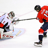 WASHINGTON, DC - FEBRUARY 27:  Washington Capitals left wing Jakub Vrana (13) has his third period shot saved by Ottawa Senators goaltender Mike Condon (1) on February 27, 2018, at the Capital One Arena in Washington, D.C.  The Washington Capitals defeated the Ottawa Senators, 3-2.  (Photo by Mark Goldman/Icon Sportswire)