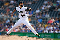 May 28, 2018 - Pittsburgh, PA, U.S. - PITTSBURGH, PA - MAY 28:   Pittsburgh Pirates relief pitcher Richard Rodriguez (48) throws a pitch in the ninth inning during an MLB game between the Pittsburgh Pirates and Chicago Cubs on May 28, 2018 at PNC Park in Pittsburgh, PA. (Photo by Shelley Lipton/Icon Sportswire) (Credit Image: © Shelley Lipton/Icon SMI via ZUMA Press)