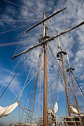 The three-masted ship the Peacemaker docked along the Savannah River, Savannah, Georgia, United States of America.