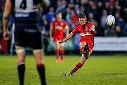 Bristol Rugby Fly-Half Callum Sheedy kicks a conversion - Mandatory byline: Rogan Thomson/JMP - 18/05/2016 - RUGBY UNION - Castle Park - Doncaster, England - Doncaster Knights v Bristol Rugby - Greene King IPA Championship Play Off FINAL 1st Leg.
