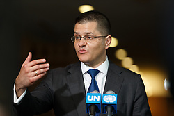 Vuk Jeremic, President of the 67th session of the United Nations General Assembly, and former minister of foreign affairs of Serbia, candidate for the position of the next secretary-general, addresses the press at the United Nations headquarters in New York, April 14, 2016. The UN General Assembly on Tuesday kicked off a three-day informal dialogue with candidates for the position of the next secretary-general. EXPA Pictures © 2016, PhotoCredit: EXPA/ Photoshot/ Li Muzi<br /> <br /> *****ATTENTION - for AUT, SLO, CRO, SRB, BIH, MAZ, SUI only*****