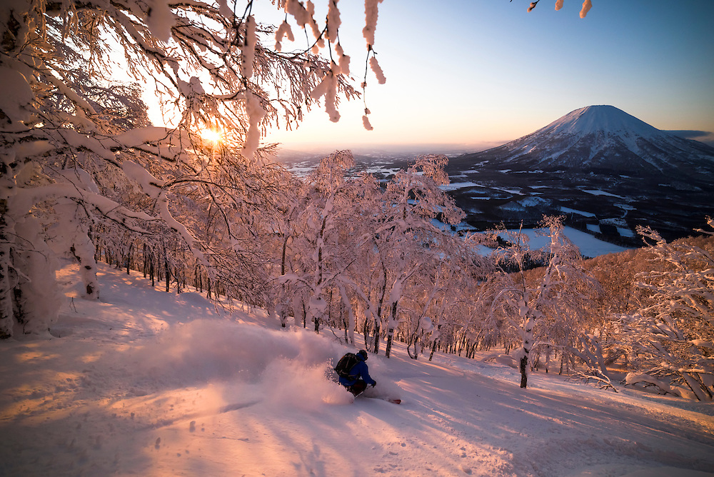 Jake Cohn drops into a sunset line on Shiribetsu-Dake, Rusutsu, Japan