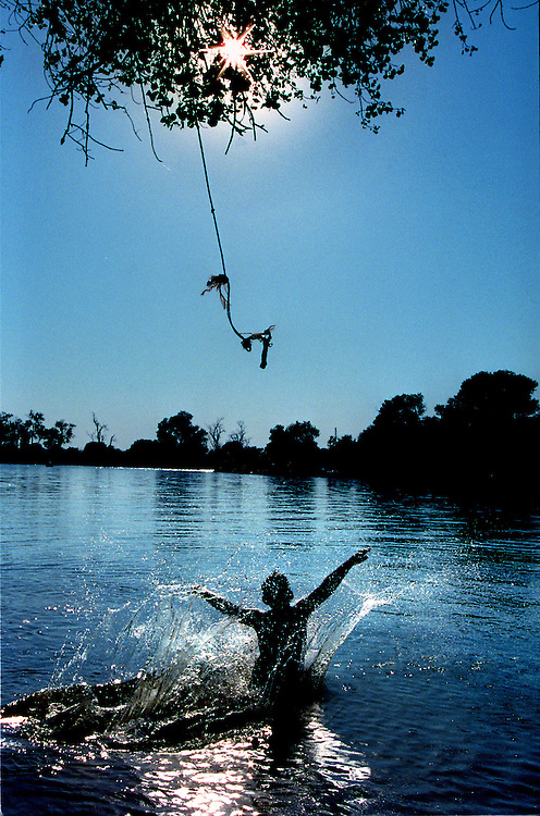 A child releases himself from a rope swing in the American River near Discovery Park in Sacramento.