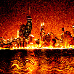 Digital painting photo of Chicago Hell. Image has the  Chicago skyline at night with the Hancock building in a distorted evil looking red fiery inferno nightmare.
