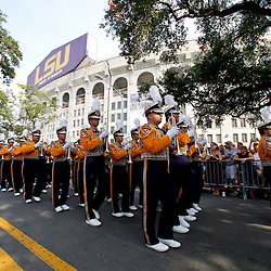 Sep 18, 2010; Baton Rouge, LA, USA;  The LSU Tigers band marches down Victory Hill prior to a game against the Mississippi State Bulldogs at Tiger Stadium.  Mandatory Credit: Derick E. Hingle