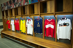 NEWPORT, WALES - Saturday, April 20, 2013: Wales team shirts in the dressing room at the opening of the FAW National Development Centre in Newport. (Pic by David Rawcliffe/Propaganda)
