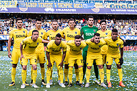 BUENOS AIRES, ARGENTINA - 2017 OCTOBER 29. Boca Juniors (16) Wílmar Barrios, Boca Juniors (9) Darío Benedetto, Boca Juniors (10) Edwin Cardona (on loan from Monterrey), Boca Juniors (18) Frank Fabra, Boca Juniors (2) Paolo Goltz, Boca Juniors (29) Leonardo Jara, Boca Juniors (6) Lisandro Magallán, Boca Juniors (15) Nahitan Nández, Boca Juniors (7) Cristian Pavón, Boca Juniors (14) Sebastián Pérez, Boca Juniors (12) GKAgustín Rossi during the Superliga Argentina match between Boca Juniors and Belgrano at  Estadio Alberto J. Armando<br /> (La Bombonera),  <br /> ( Photo by Sebastian Frej )