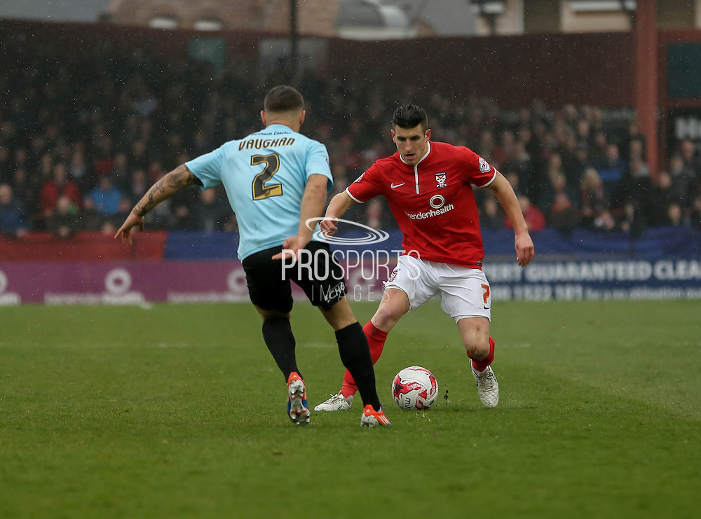 Michael Coulson during the Sky Bet League 2 match between York City and Cheltenham Town at Bootham Crescent, York, England on 3 April 2015. Photo by Simon Davies.