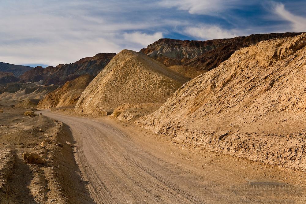 Dirt road through Twenty Mule Team Canyon, Death Valley National Park, California