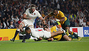 England's Wing Anthony Watson scoring a try to get England back into the game to take it to 20 - 10 during the Rugby World Cup Pool A match between England and Australia at Twickenham, Richmond, United Kingdom on 3 October 2015. Photo by Matthew Redman.